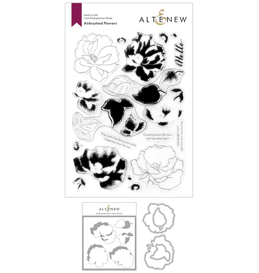 Altenew - Airbrushed Flowers Stamp & Die & Mask Stencil (3 valg)