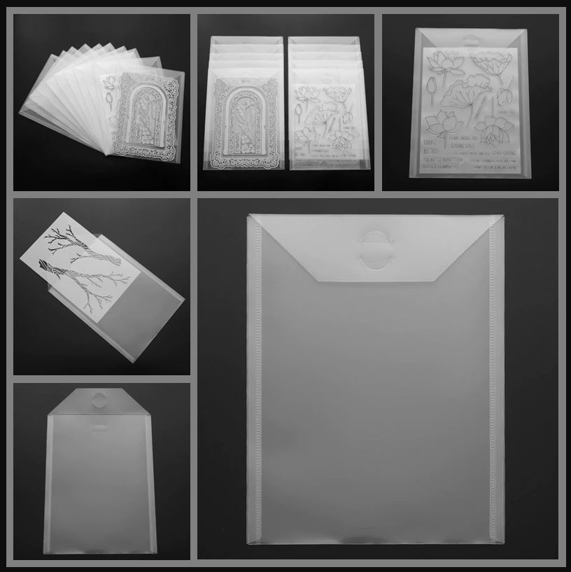 10 stk 18x24cm Clear Plastic Storage Bag for Dies & Stamp