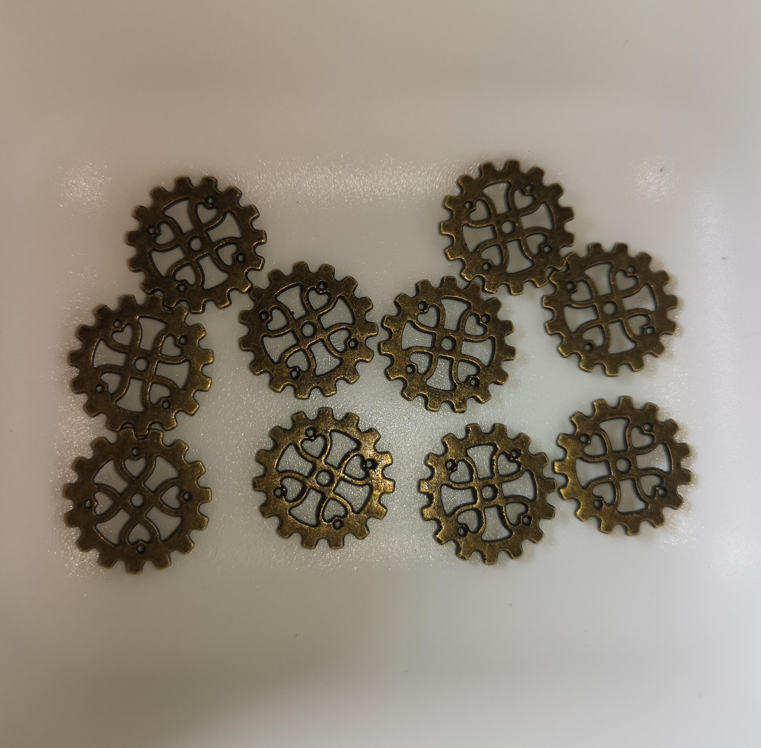 Charms - Gear hjul/hjerter 1,8cm - pose 10 stk (2 varianter)