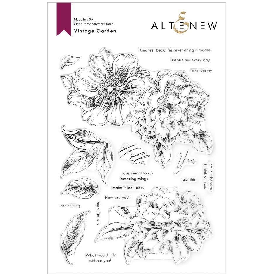 Altenew - Vintage Garden Stamp & Die & Coloring Stencil (3 valg)