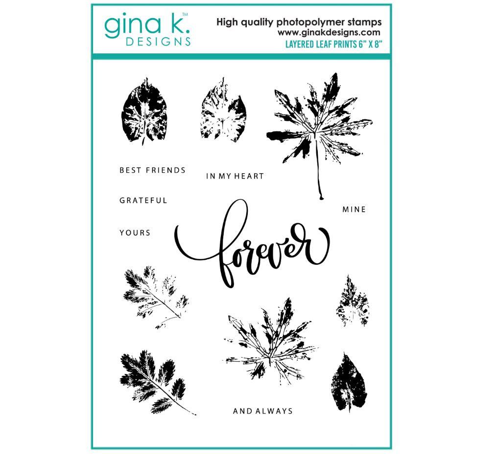 Gina k. DESIGNS - Stamp and Die set - Layered Leaf Prints (2 valg)