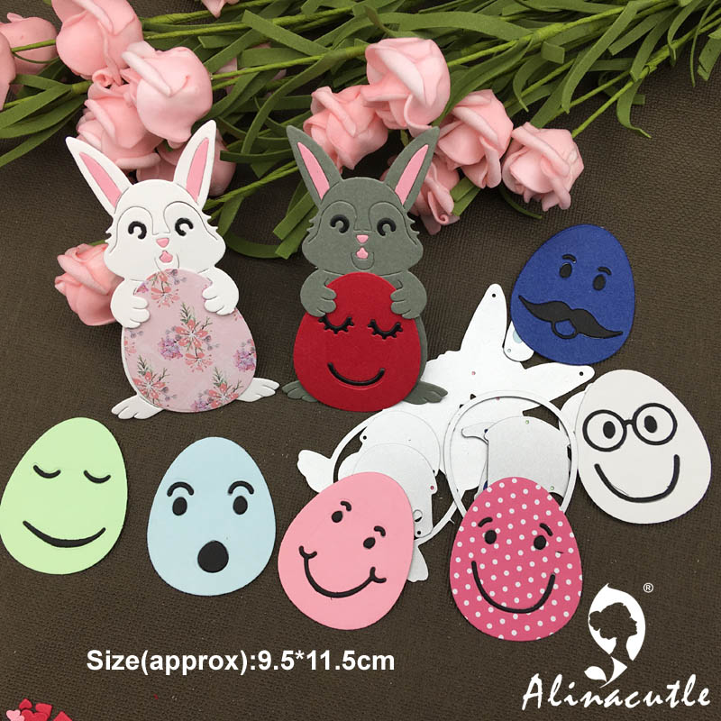 AlinaCraft - Metal Cutting Dies easter bunny and egg with face