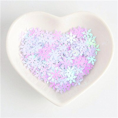 Sequin/Paljetter - 10mm Snowflake white - 10g