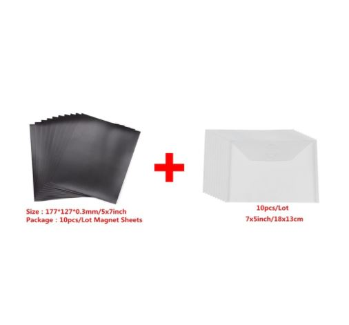 10 stk 18x13cm Clear Plastic Storage Bag for Dies & Stamp with rubber magnet Sheet