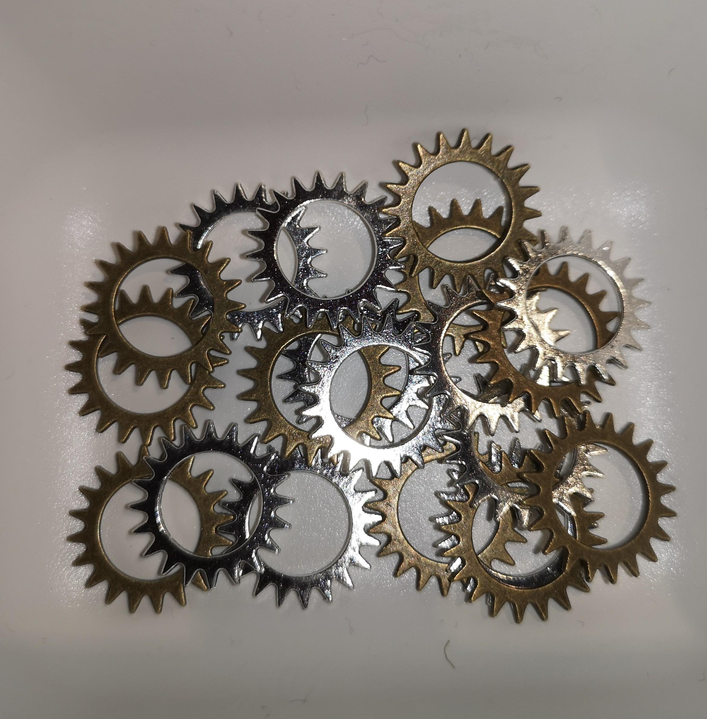 Charms - Gear sirkel 2,1cm blanding - pose 20 stk