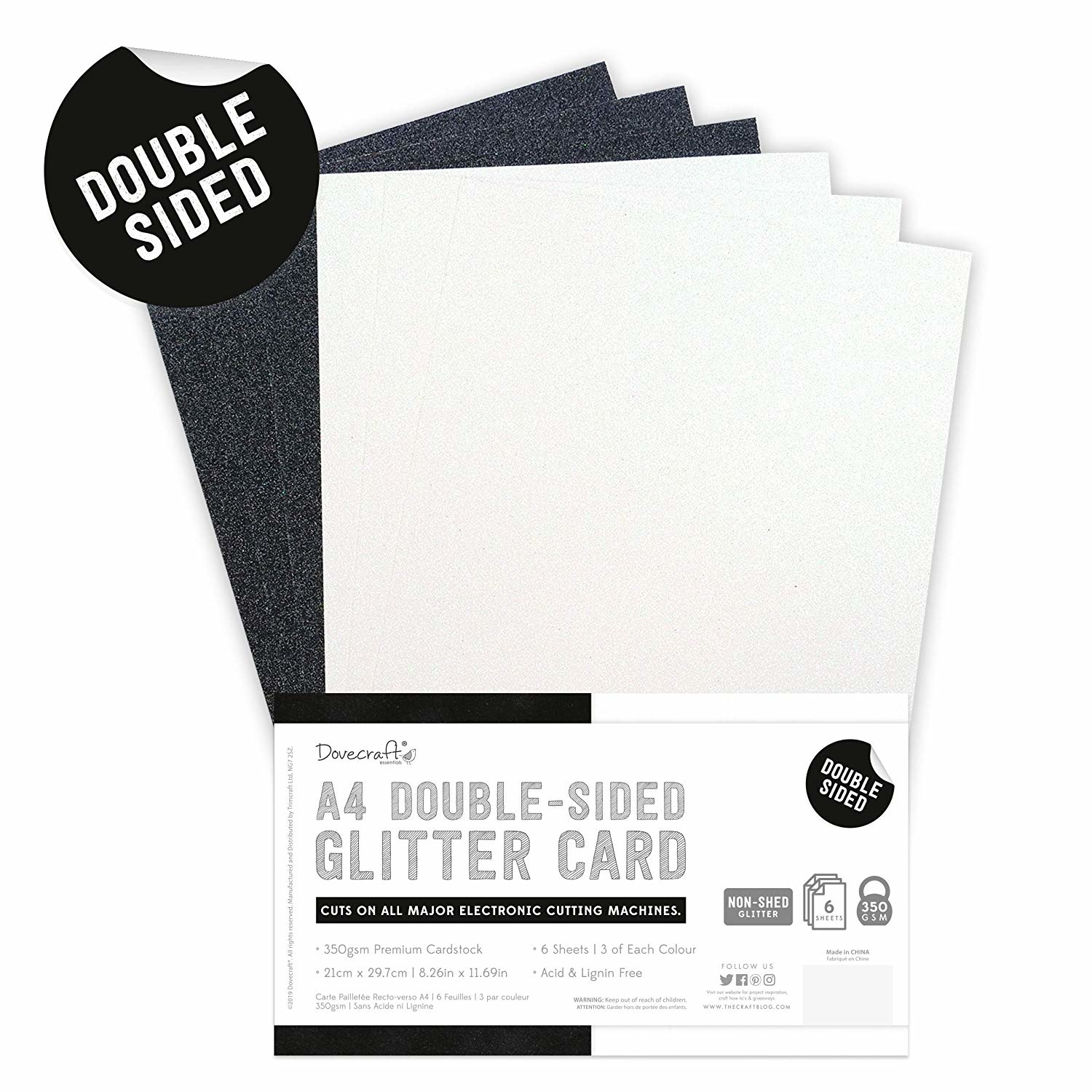 Dovecraft - Double Sided Glitter Pack A4 Black & White