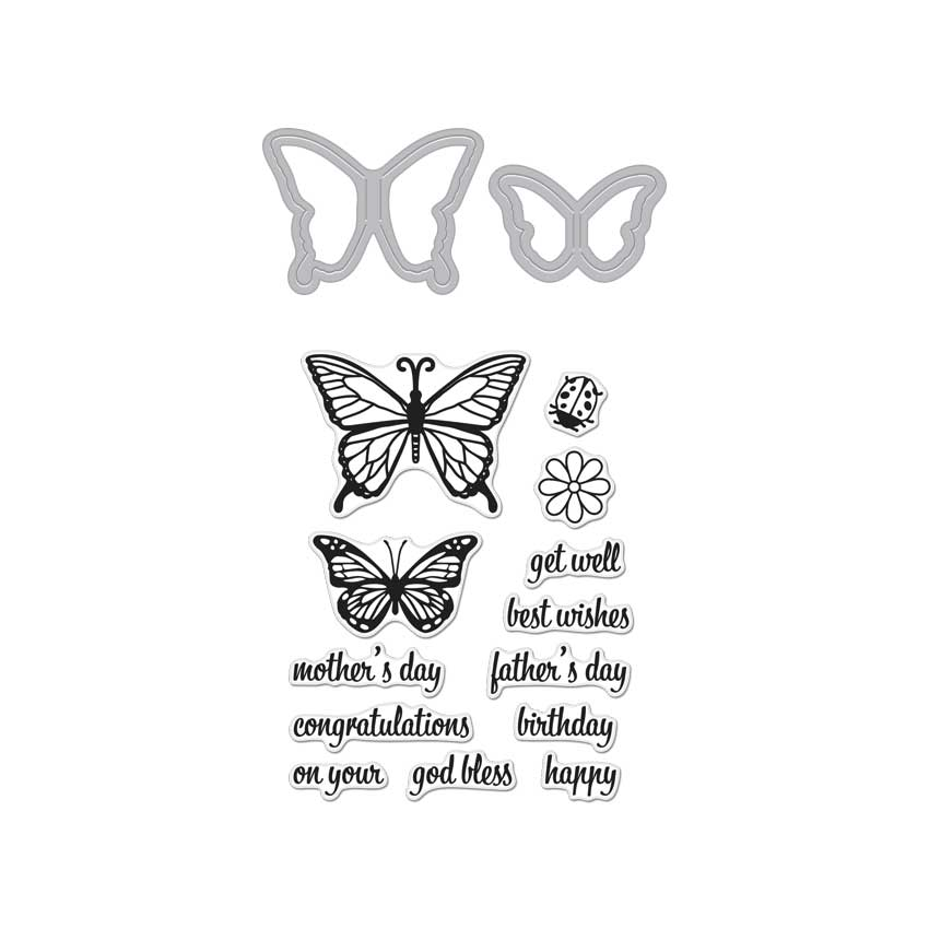 Hero Arts - Butterfly Pair Stamp & Cut  (DC182)