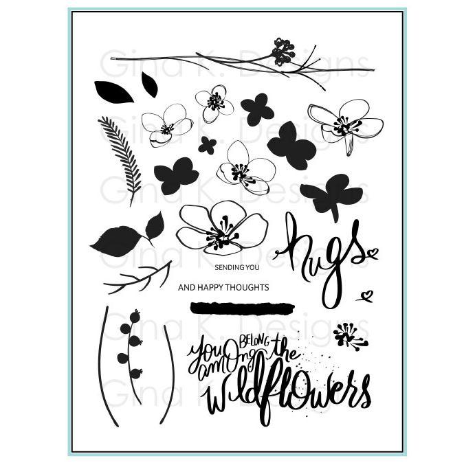 Gina k. DESIGNS - Stamp and Die set - Hugs and Wildflowers  (2 valg)