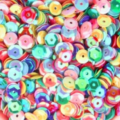 Sequin/Paljetter - 4mm Round Cup - Mix - 10g