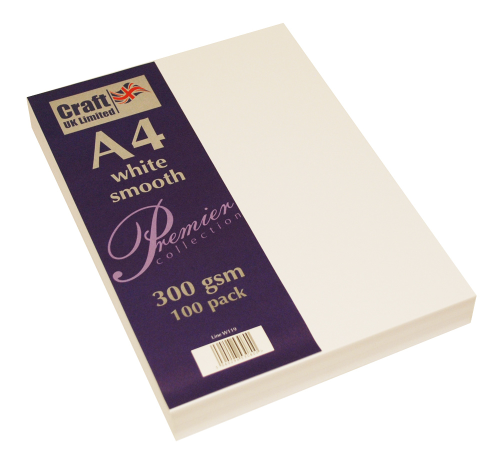 Craft UK - Premium Collection A4 White Smooth Paper Pack, 300gsm