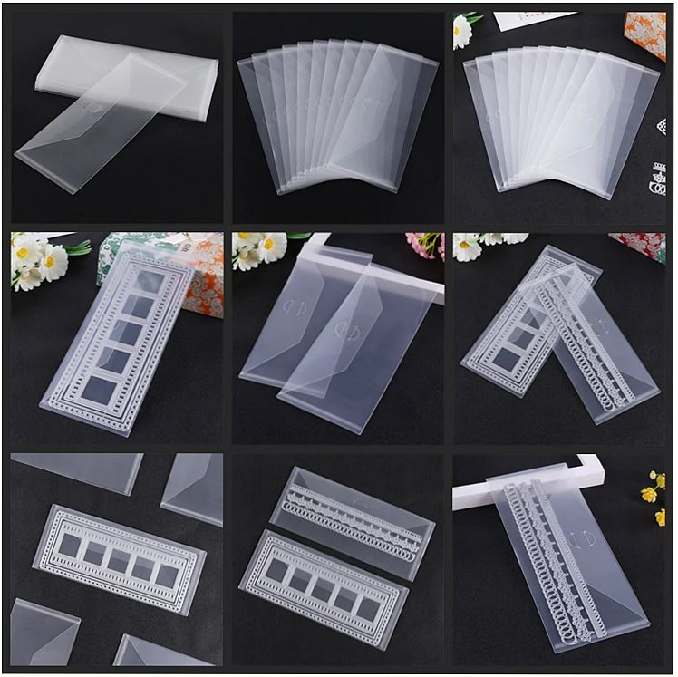 10 stk 24x10cm Clear Plastic Storage Bag for Slimline Dies & Stamp