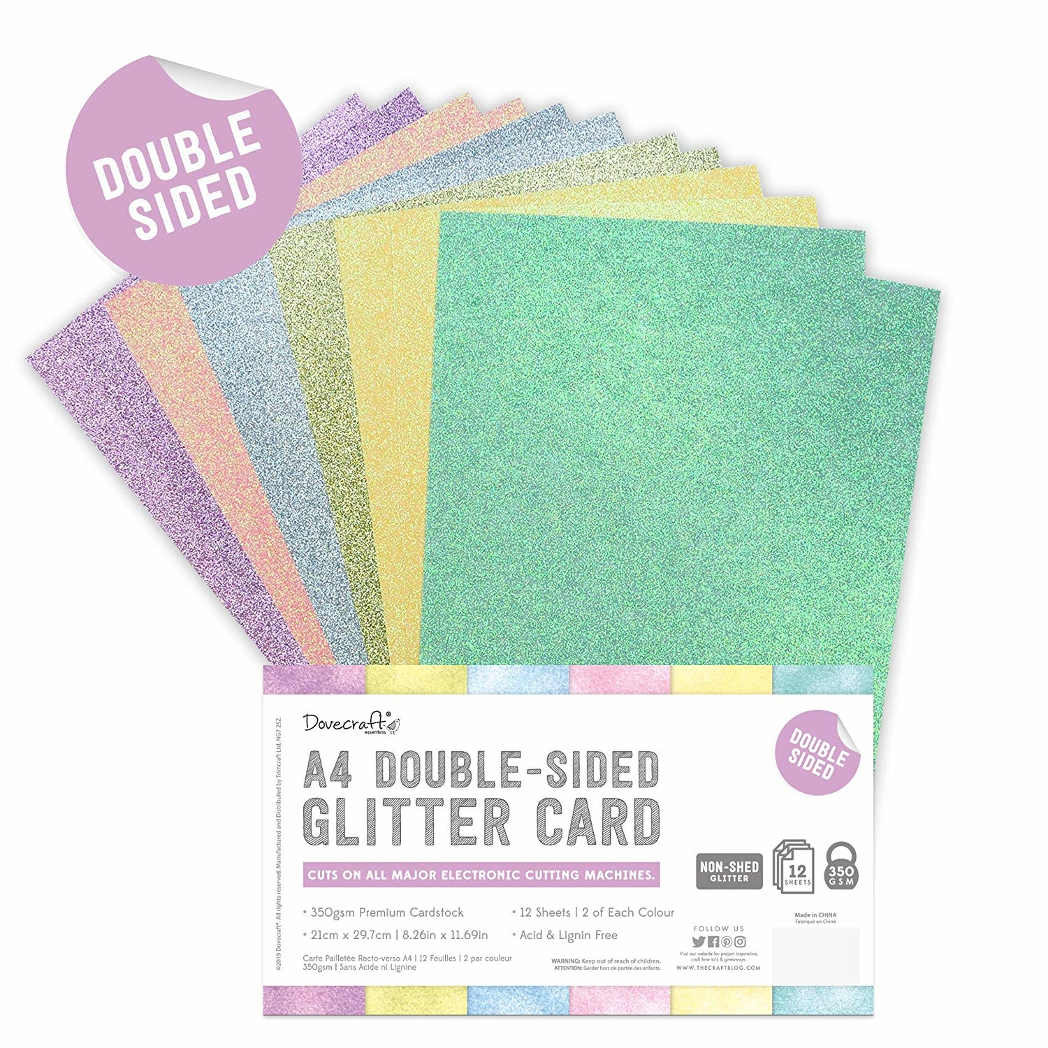 Dovecraft - Double Sided Glitter Bumper Pack A4 Rainbow Pastels