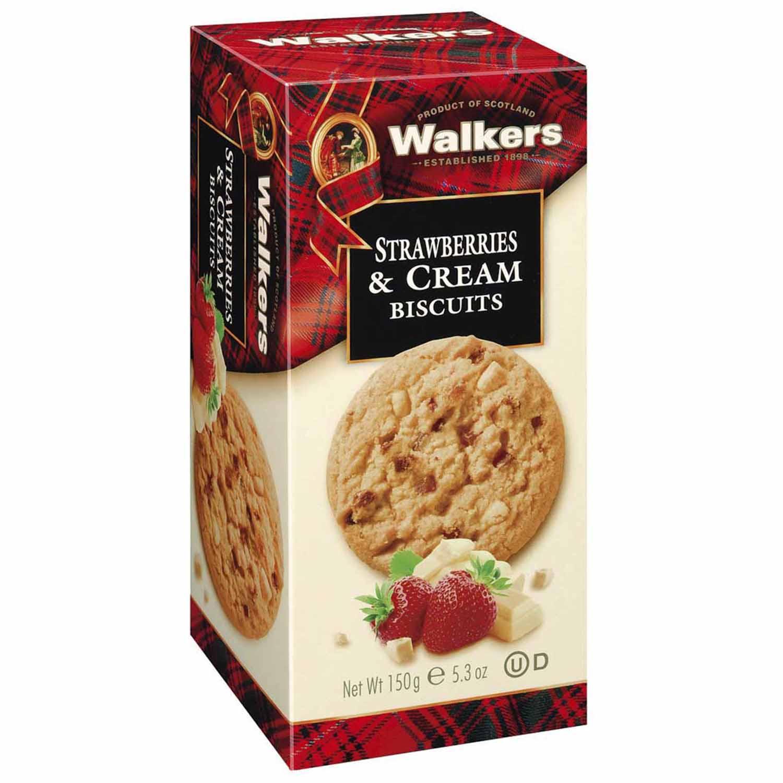 WALKERS STRAWBERRIES & CREAM BISCUITS 150G