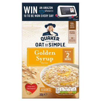 QUAKER OATS GOLDEN SYRUP PORRIDGE SACHETS 10x36G