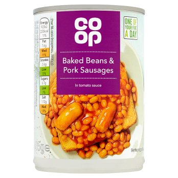 CO-OP BAKED BEANS & SAUSAGES IN SAUCE 400G