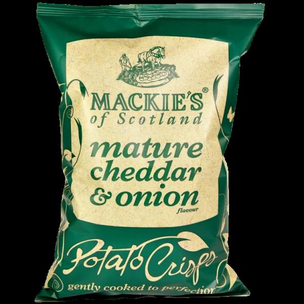 MACKIES MATURE CHEDDAR & ONION CRISPS 150G