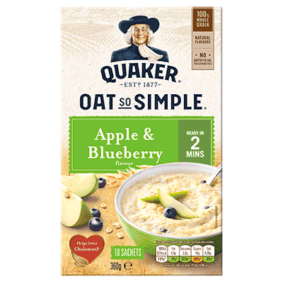 QUAKER OATS APPLE & BLUEBERRY PORRIDGE SACHETS 10x36G