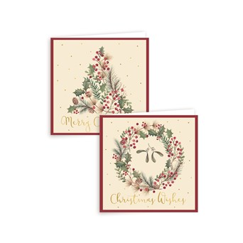 TREES & WREATHS CHRISTMAS CARDS 12PK WAS 49Kr
