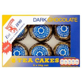 TUNNOCKS DARK CHOCOLATE TEA CAKES, 6x24g