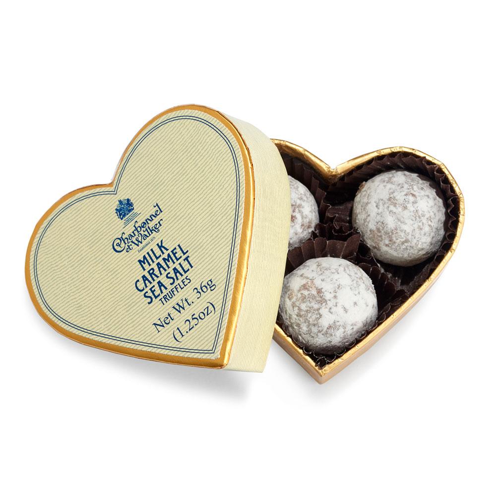 Charbonnel et Walker - Milk Sea salt Caramel truffles - Heart 3pcs