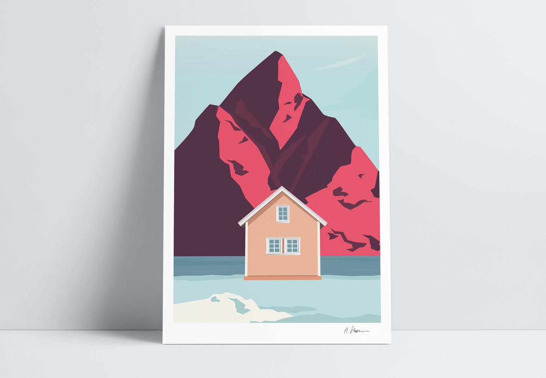 A STORM print - Lofoten pink -