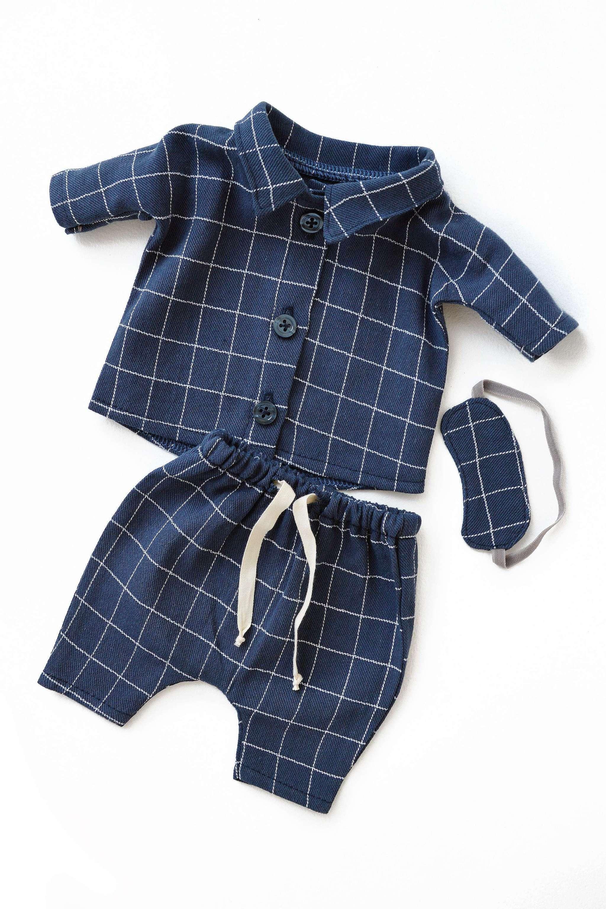 Pyjamas-sett blårutet (Philomena Kloss)