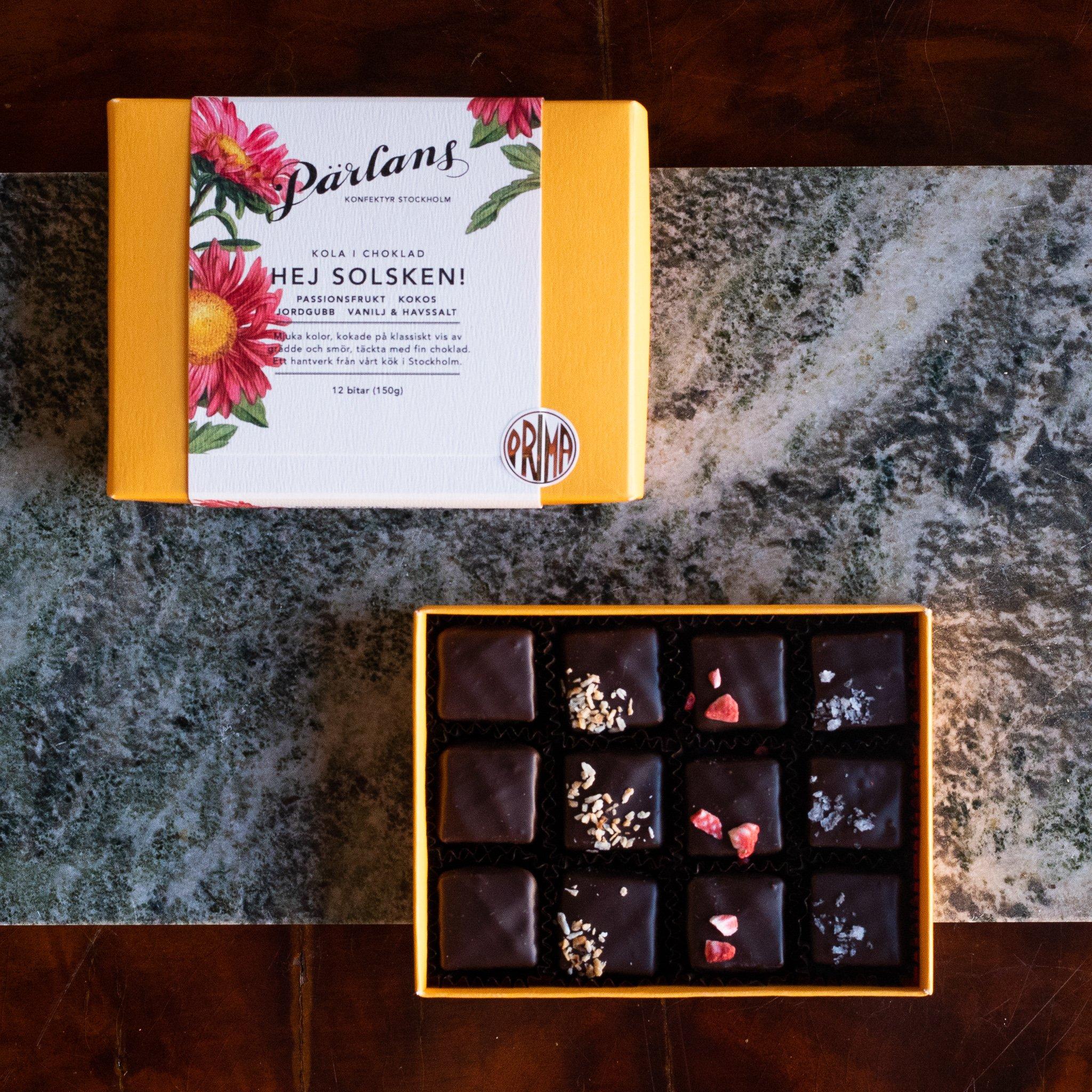 Pärlans Konfektyr karameller i sjokolade - Hej solsken! -