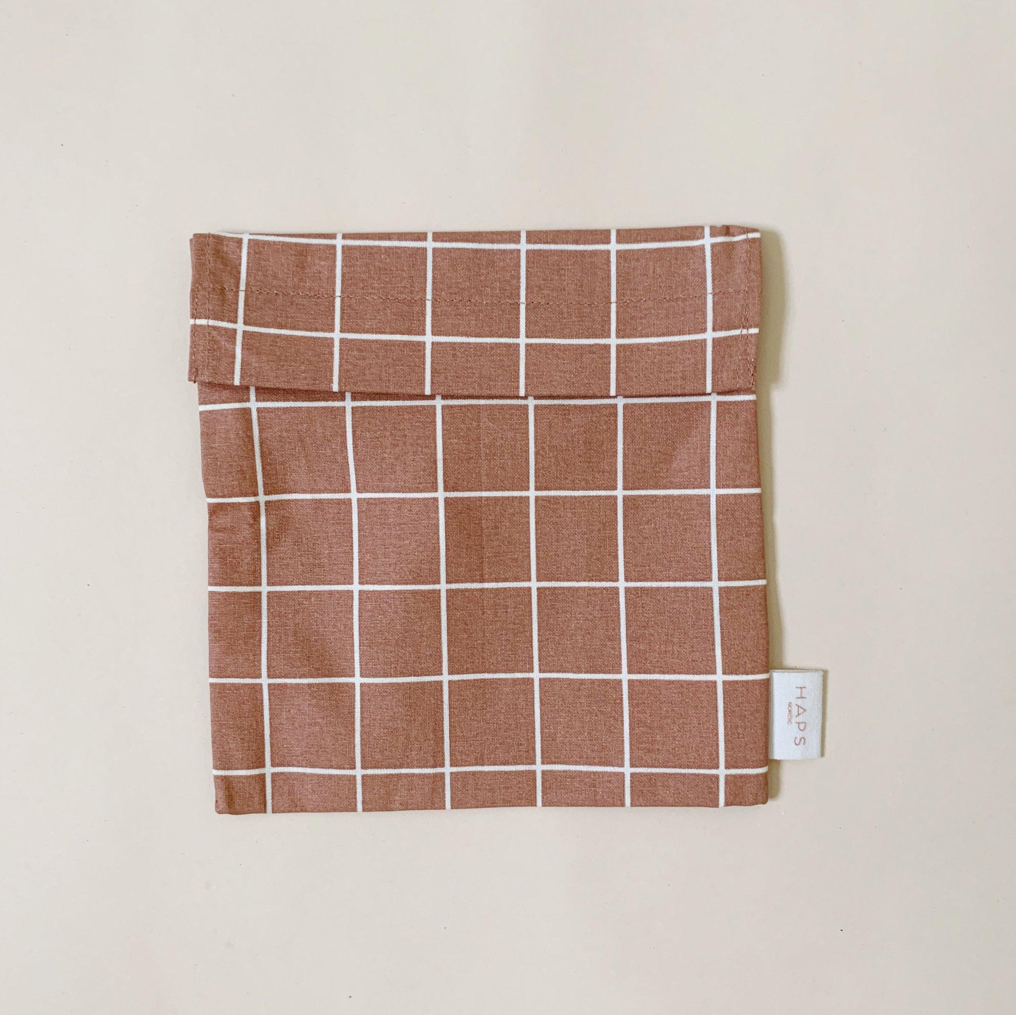 Haps Sandwich bag Matpakkepose -Check Warm terracotta-