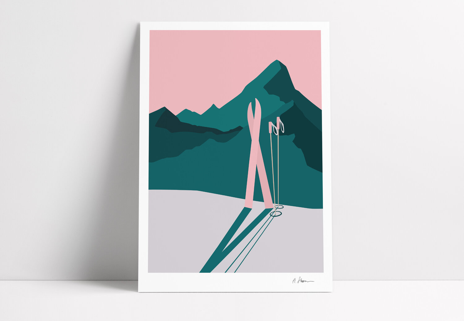 A STORM print - Skiing at sunset -