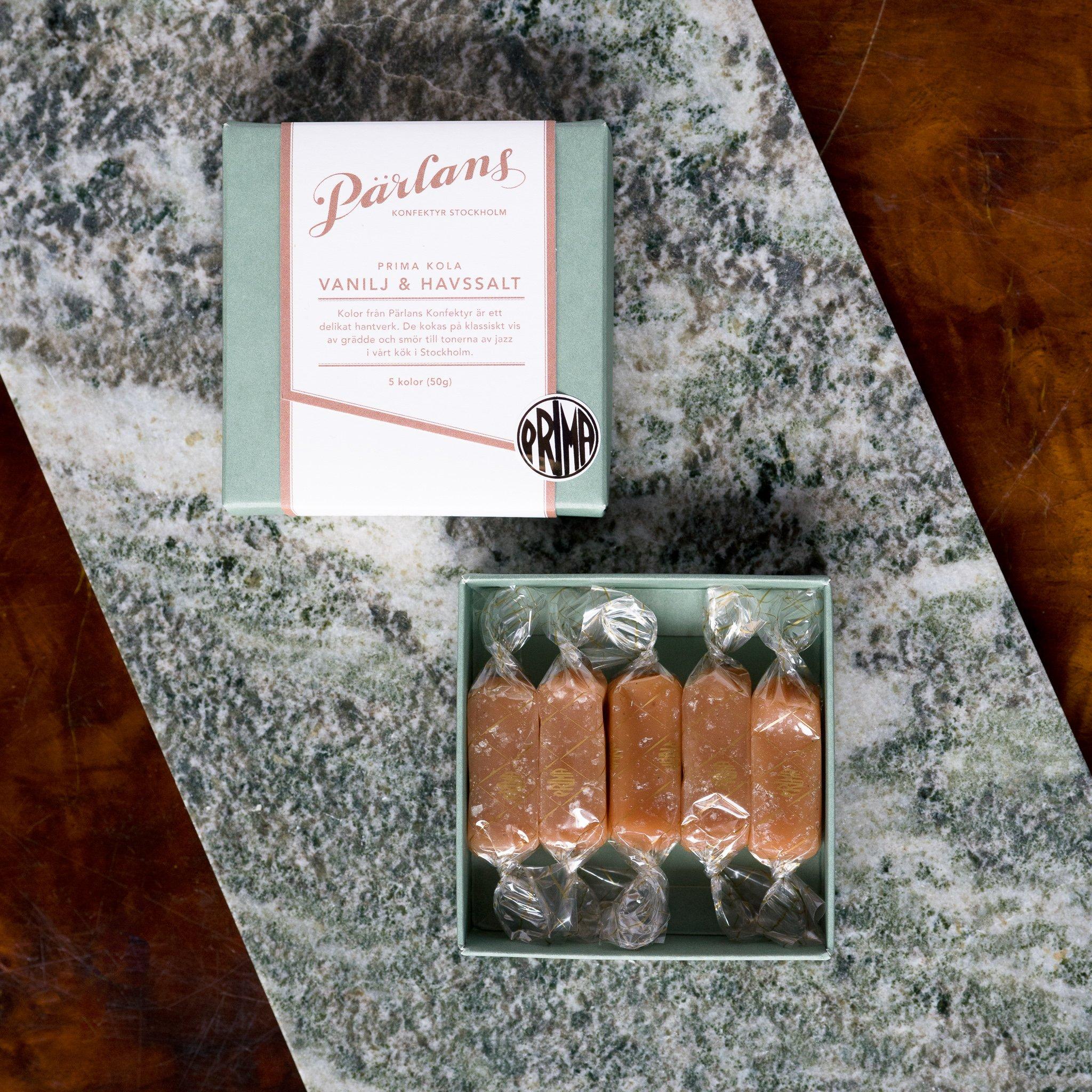 Pärlans konfektyr karameller 5stk -VANILJE & HAVSALT-