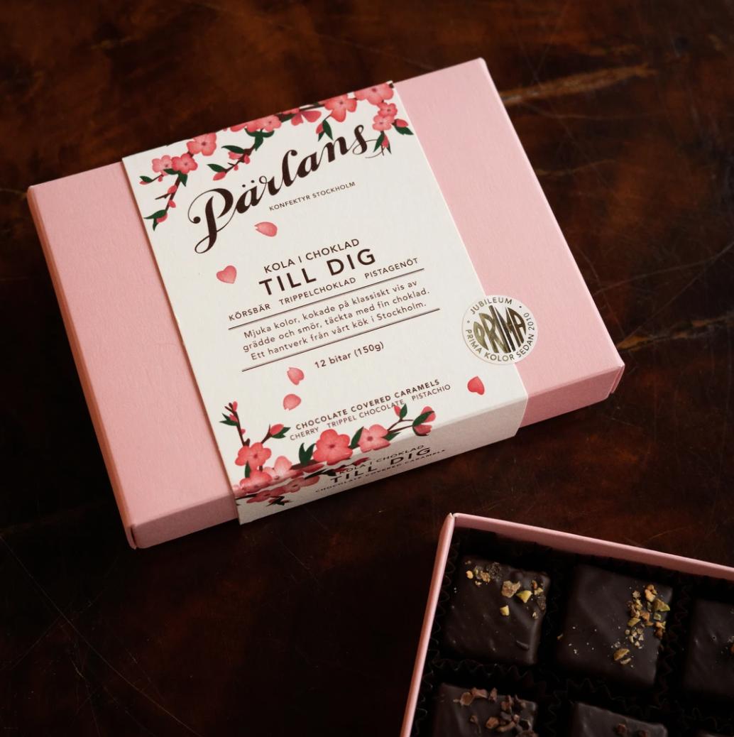 PÄRLANS KONFEKTYR Karameller i sjokolade 12 stk - TILL DIG -