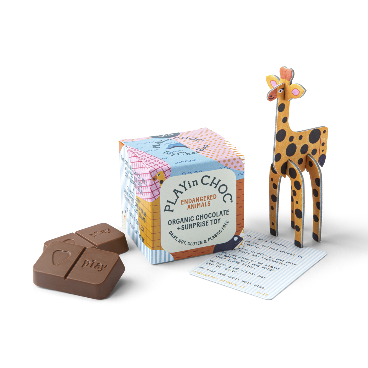 PLAY IN CHOC Sjokolade + leke - Endangered animals -