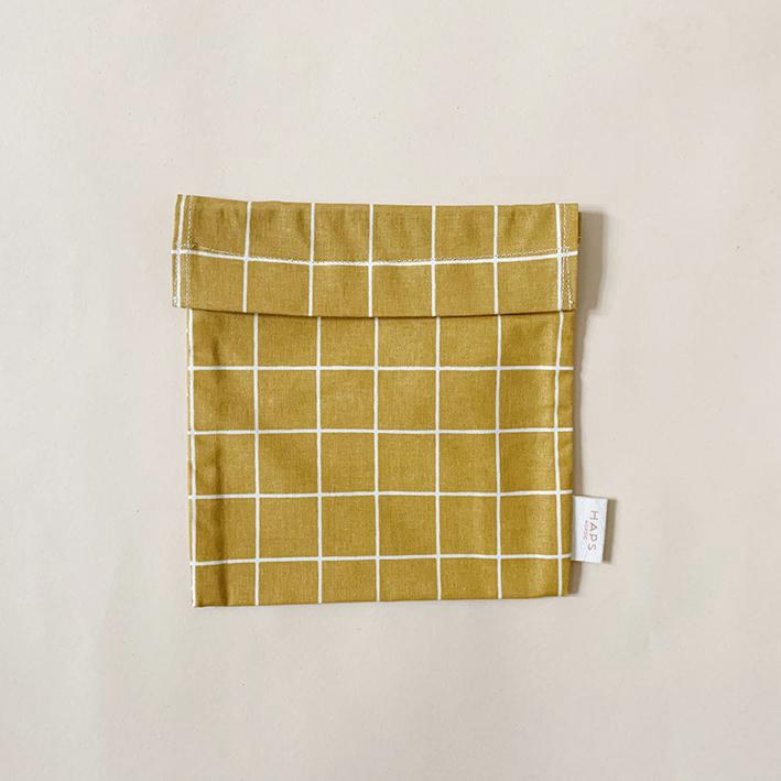 Haps Sandwich bag Matpakkepose -Check mustard-