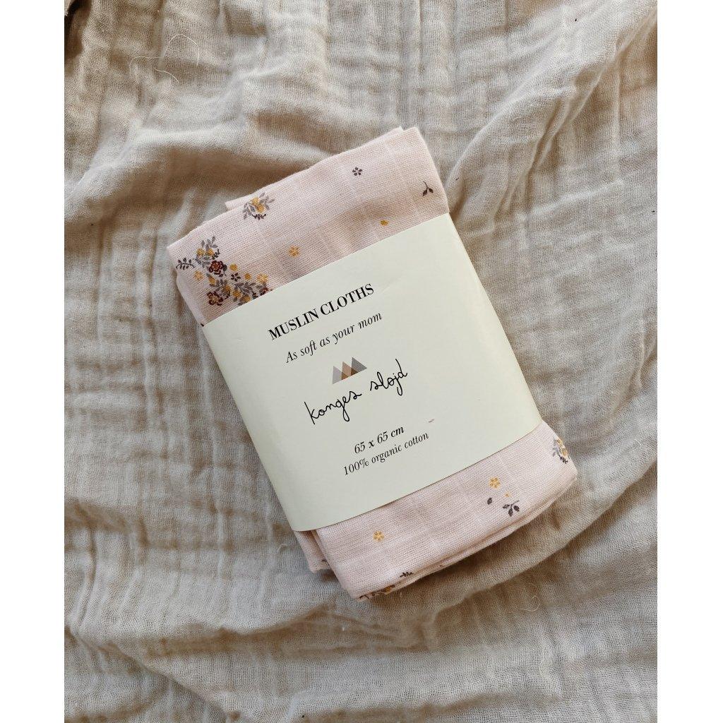 Konges sløjd 3pk muslin cloth - Nostalgia blush -