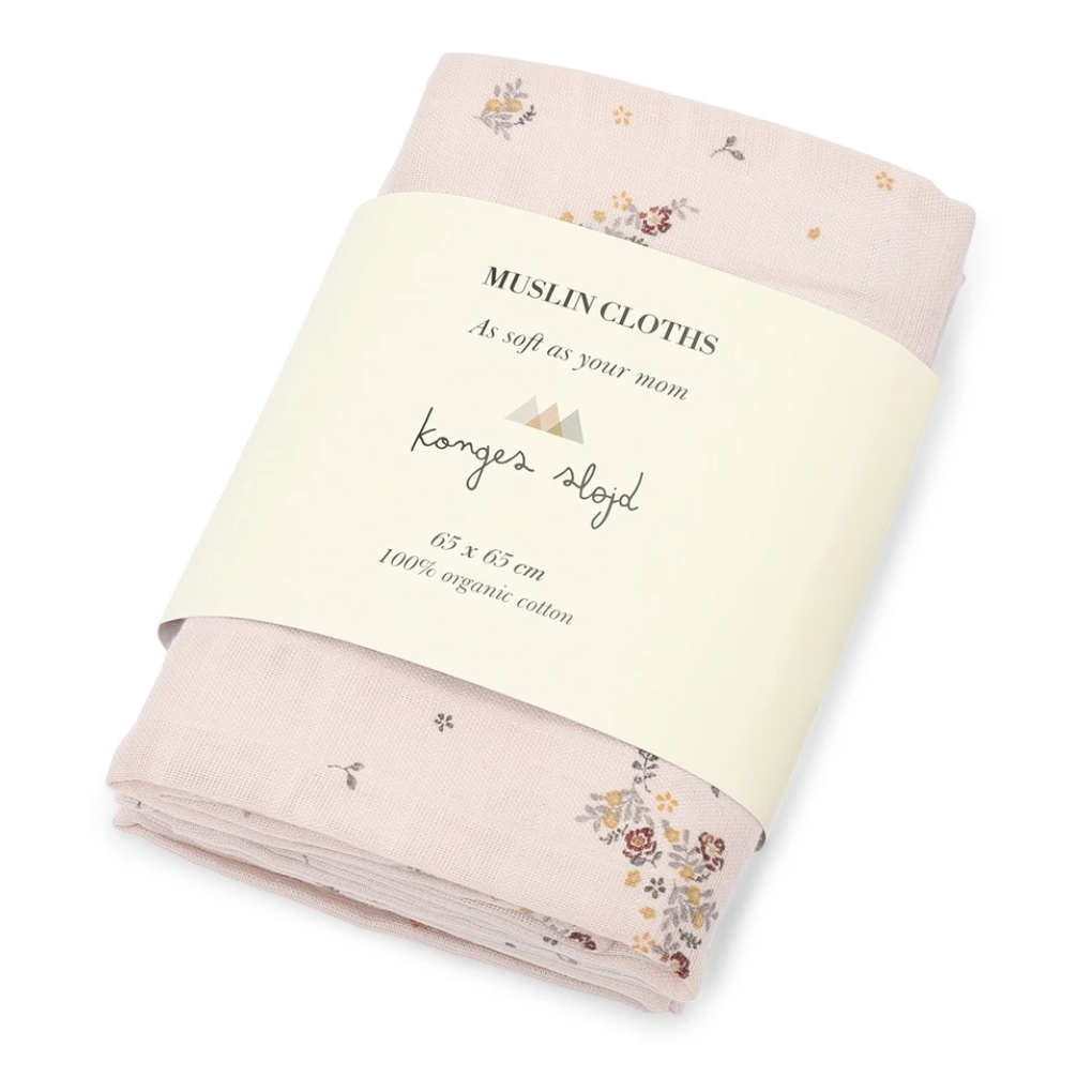 Konges sløjd 3pk muslin cloth - Nostalgia blush -