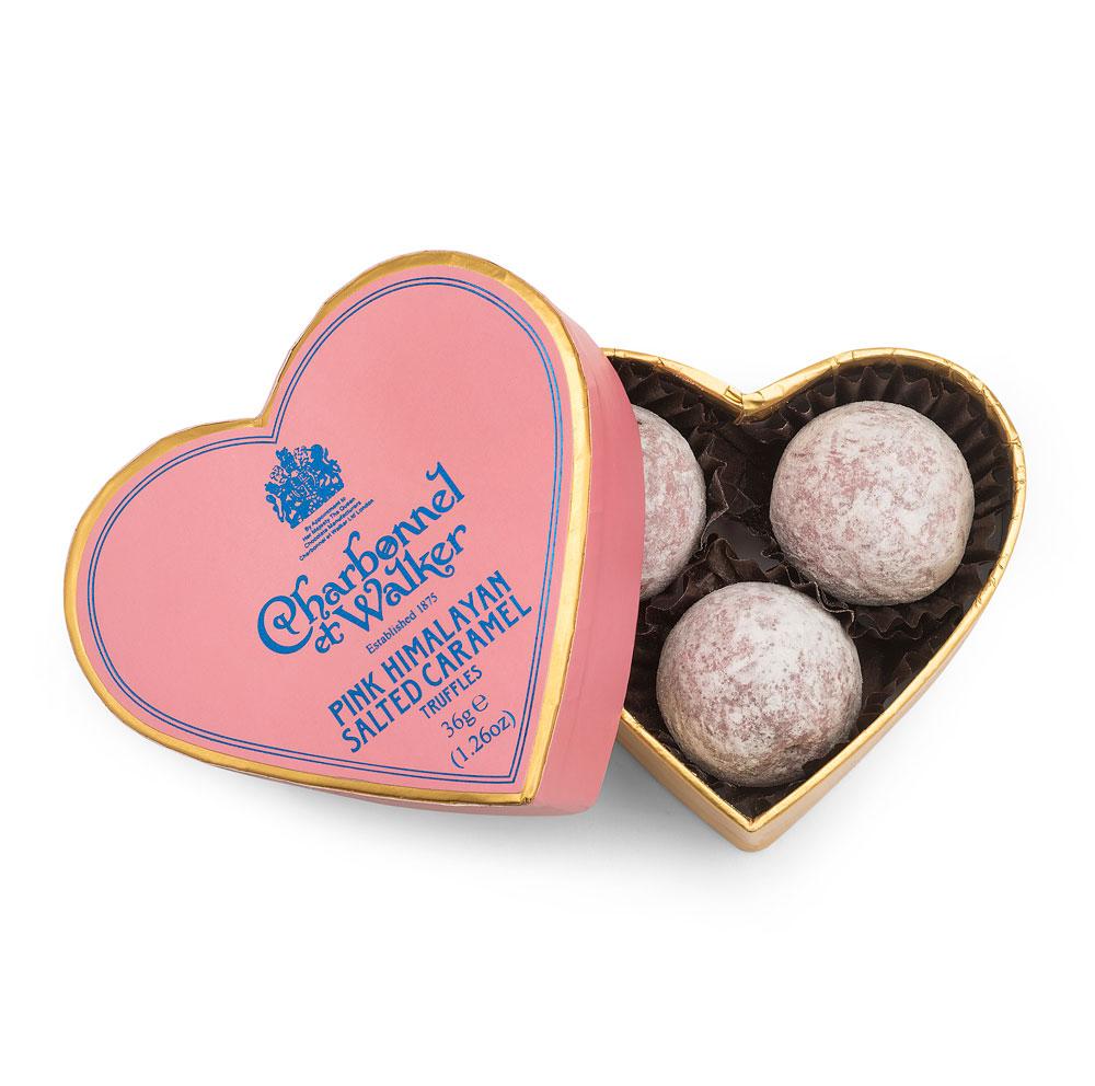 Charbonnel et Walker - Pink Himalayan Sea salt caramel truffles - Heart 3 pcs