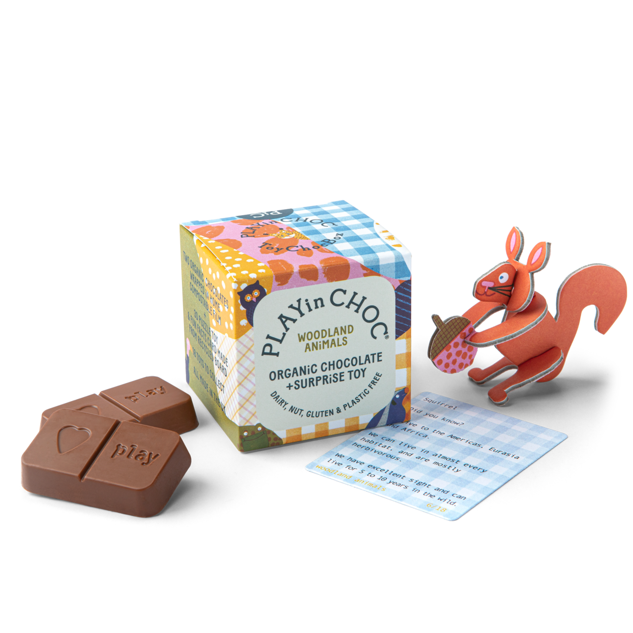 PLAY IN CHOC Sjokolade + leke - Woodland animals -