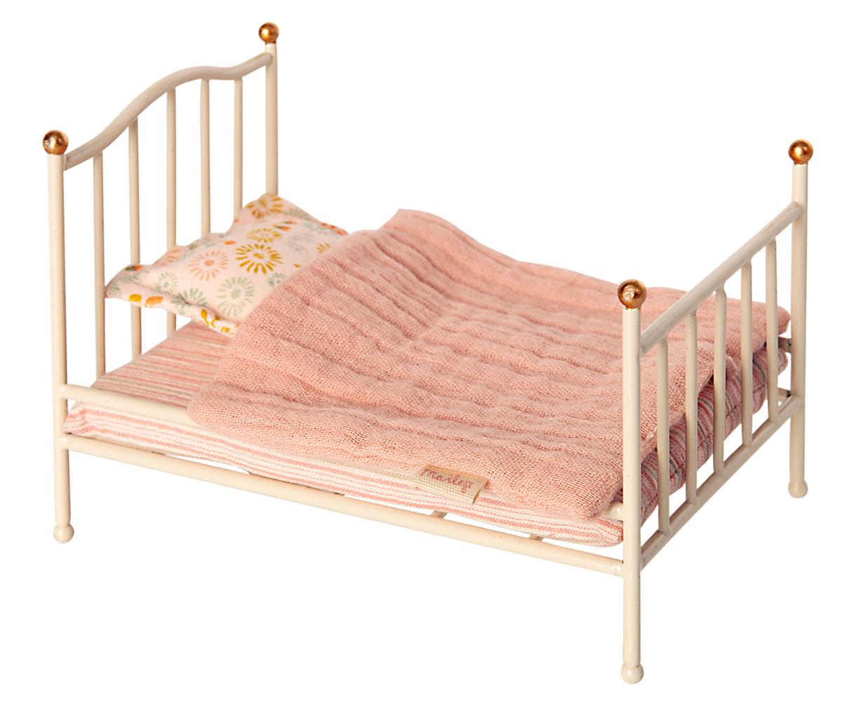 MAILEG Mus - Vintage bed Off white -
