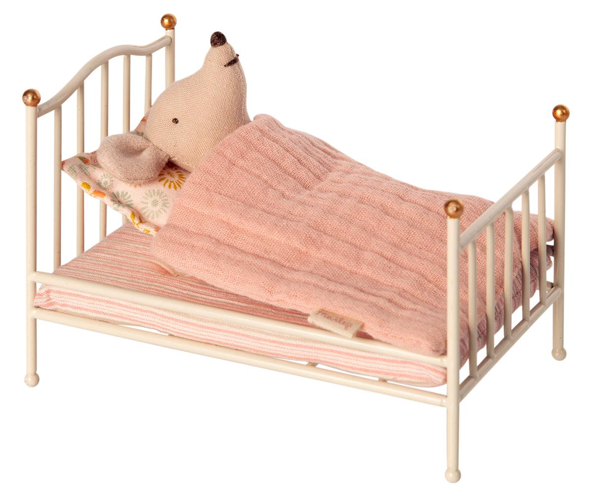 MAILEG Mus - Vintage bed Off white -