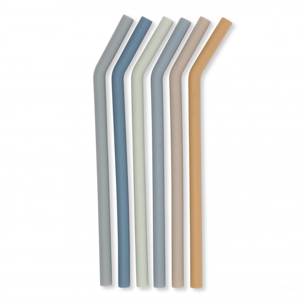 KONGES SLØJD 6pk straws - Blå -