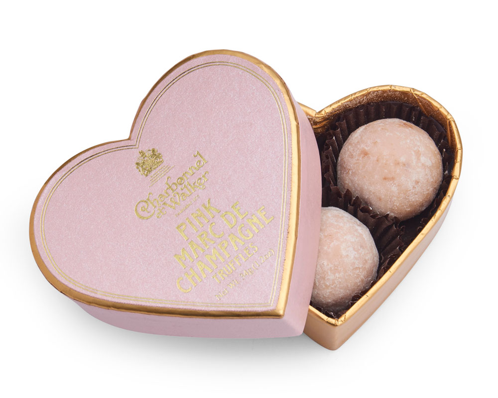 Charbonnel et Walker - Pink Marc de Champagne Chocolate Truffles Mini Heart - 3pcs