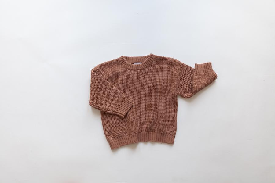 KINDLY (Tidligere Fieldday) Chunky knit sweater - Claypot -