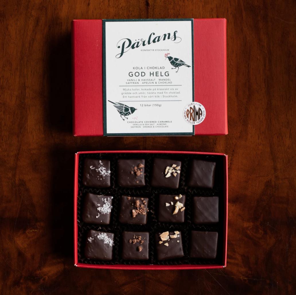 PÄRLANS Karameller i sjokolade - God helg -