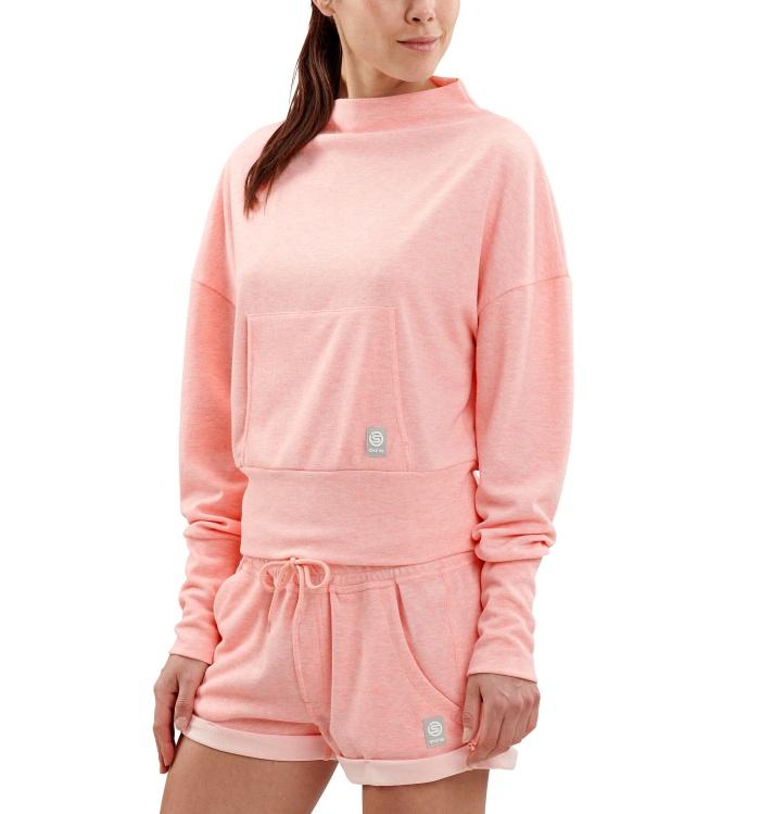 AW Wireless Womens L/S Top Fluro Peach Marle