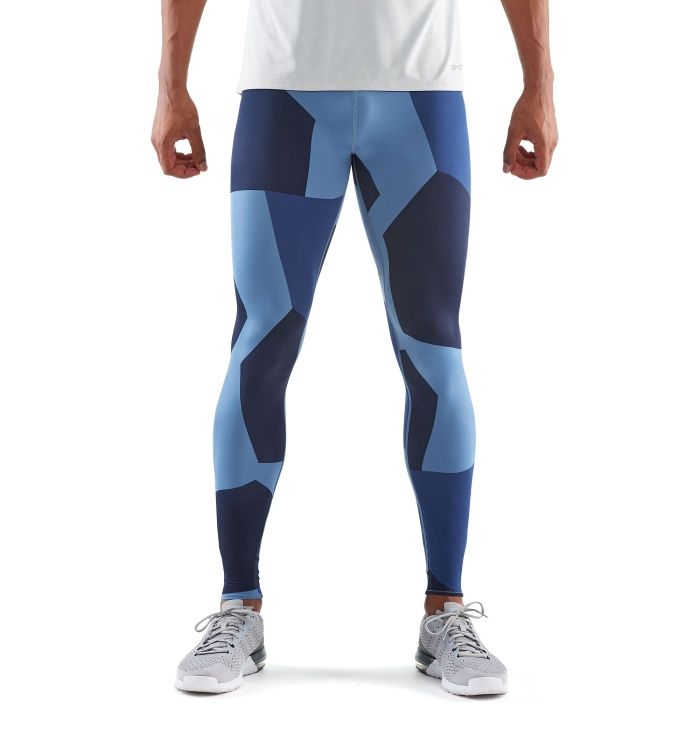 Primary Men Long Tights Bright Blue Camo