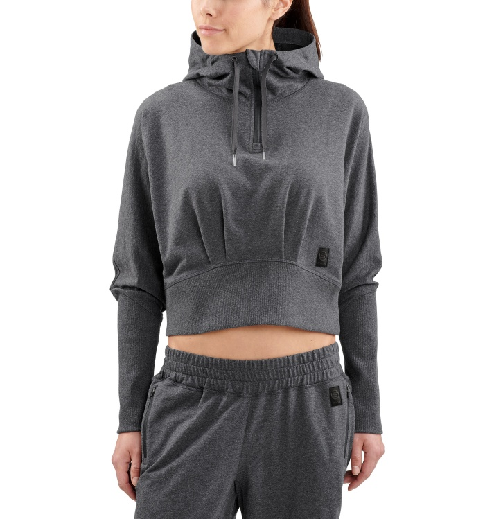 AW Spade Light Fleece W Hoodie Charcoal Marle