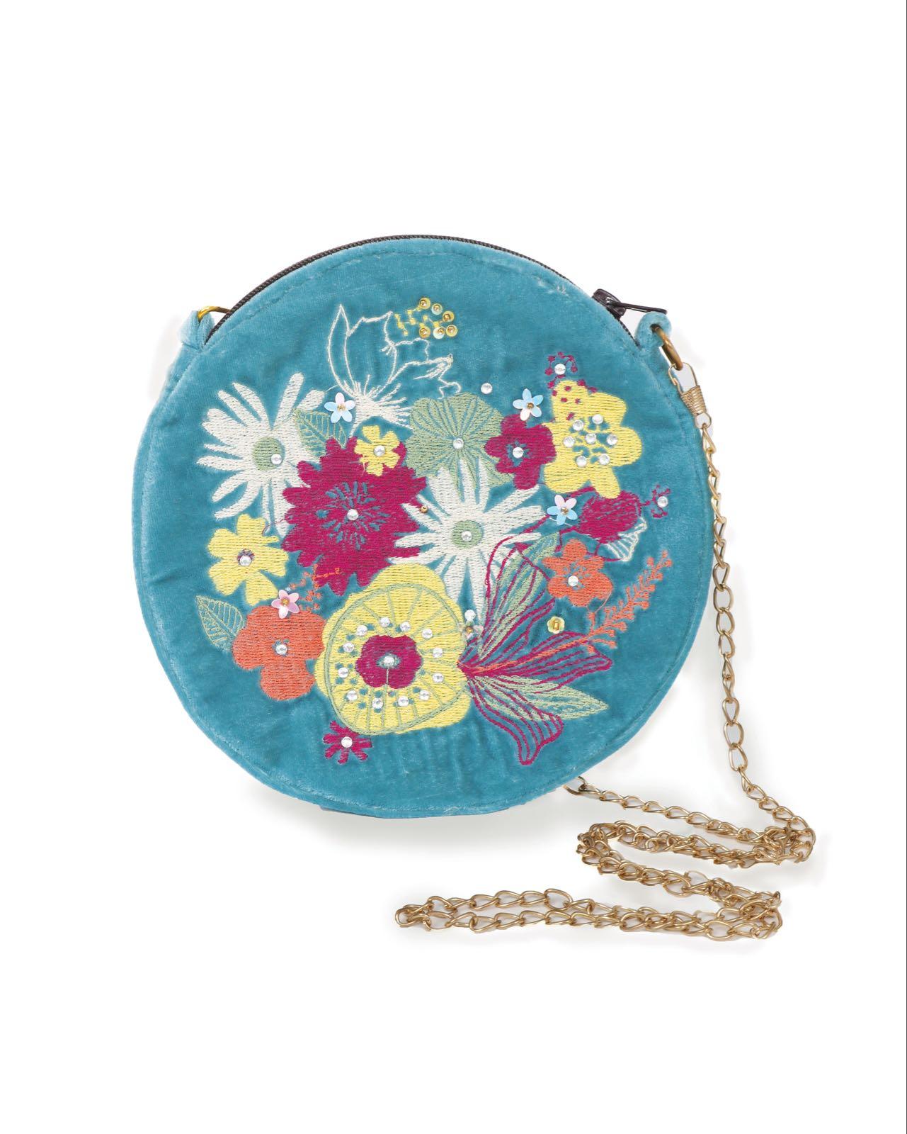 Powder Turquoise Velvet embroidered bag