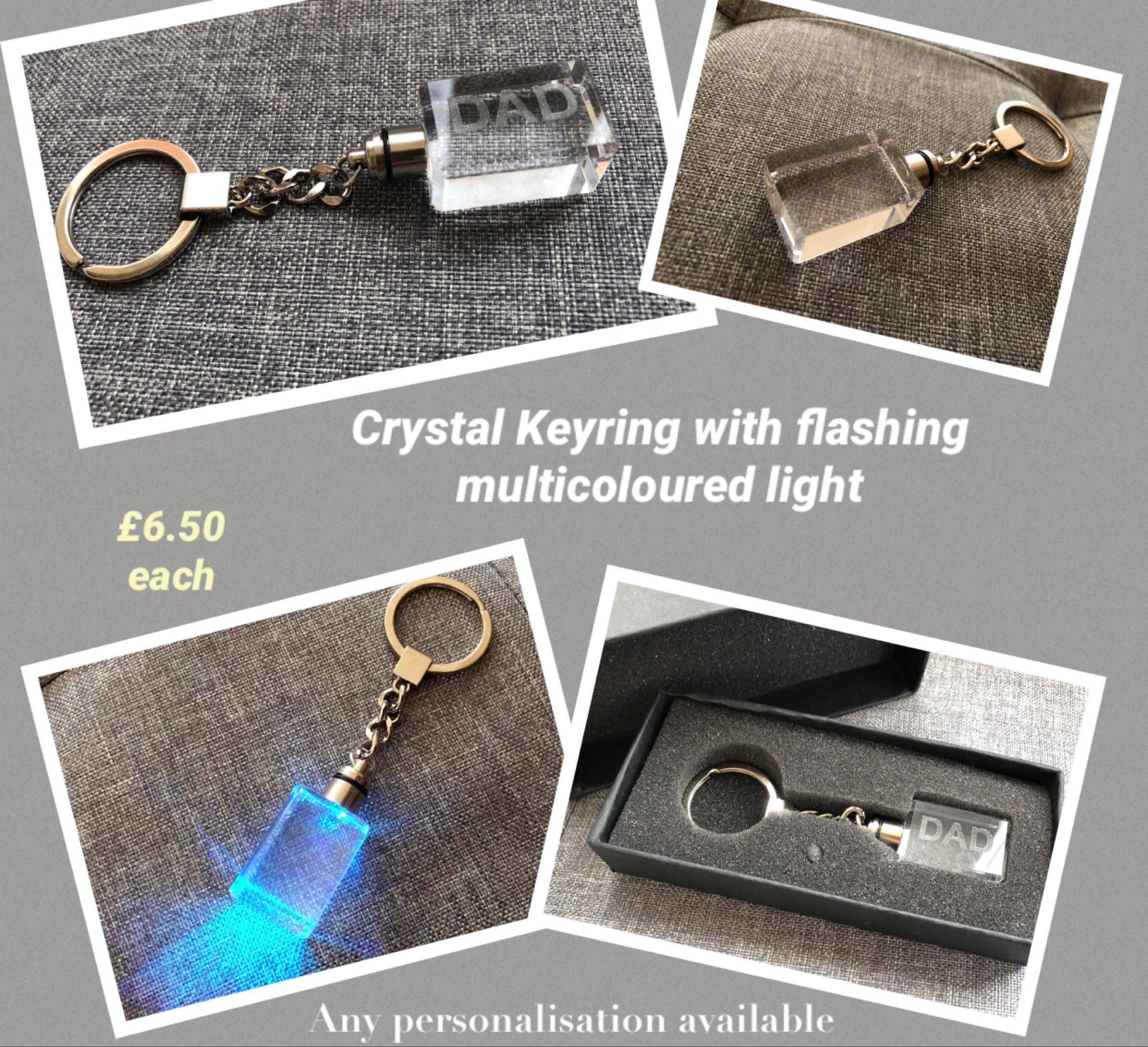 Crystal  Keyring with flashing  multicoloured light - any name or initial engraved