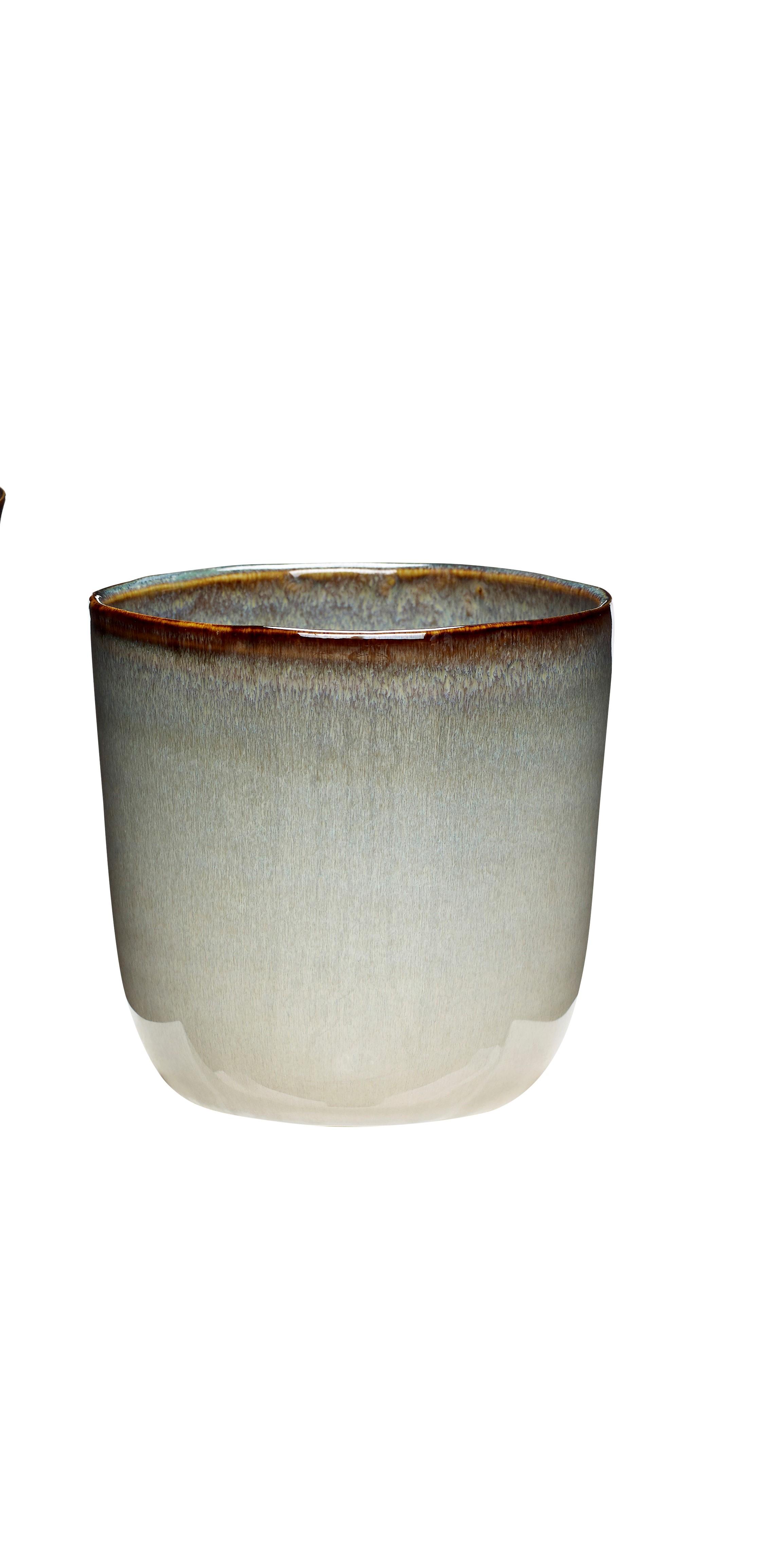 Plant pot Ceramic Beige & white