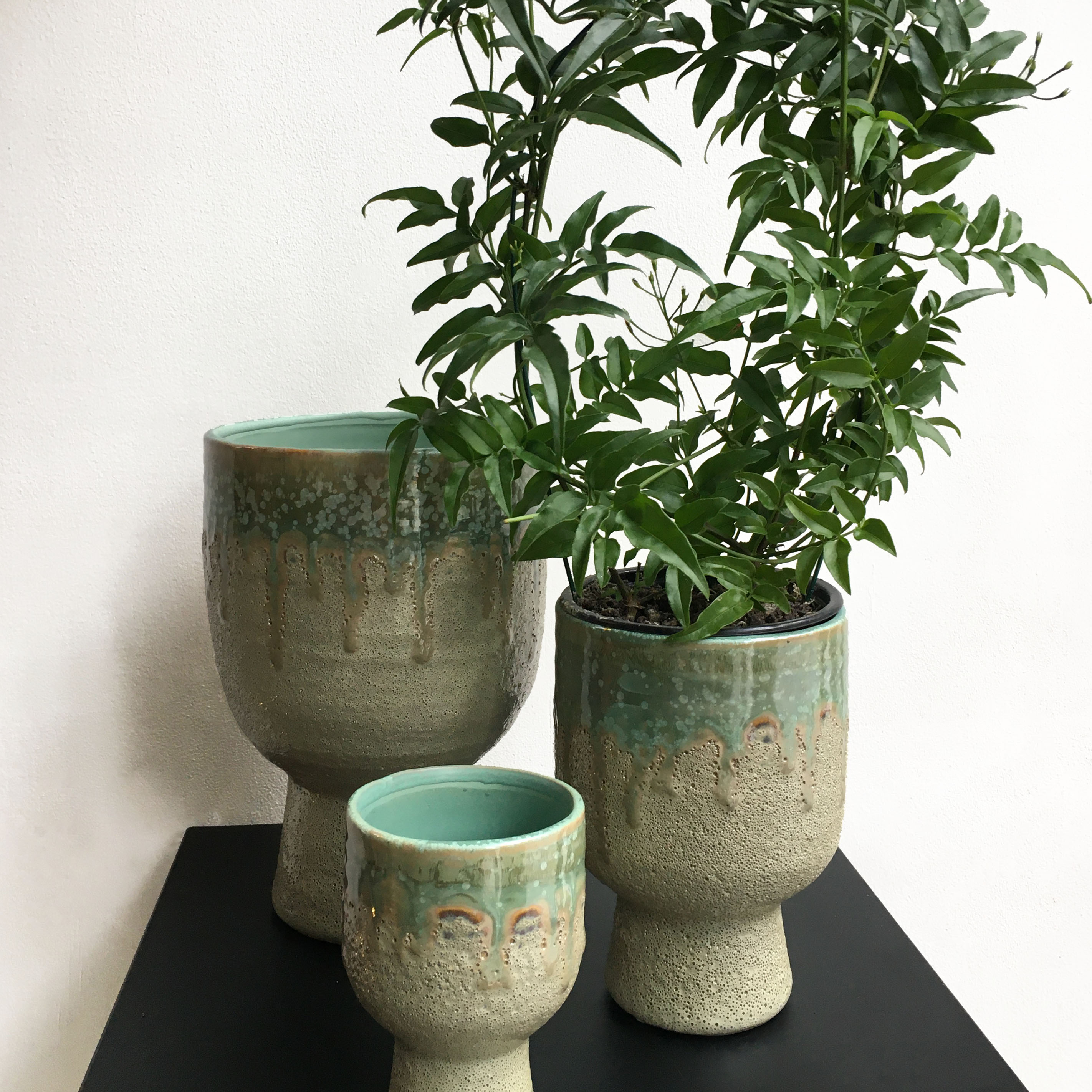 Light Green Textured Chalice Pots - 3 Sizes